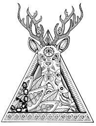 Cerf Triangle Complex Animaux Coloriages Difficiles Pour