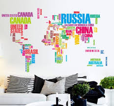 colorful english letters world map sofa bedroom office background wall decal removable pvc wall sticker art wallpaper mural