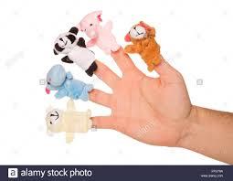 Five Animal Finger Puppets Studio Cutout Stock Photo