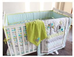 new 8pcs boy baby bedding set elephants nursery quilt per sheet dust ruffle