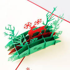 3d Christmas Greeting Paper Cards Christmas Deer Pattern Folding Greeting Thank You Christmas Card 10pcs Lot Free Shipping