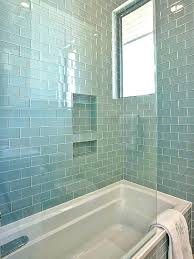 gorgeous shower tub combo with walls and bath surround tiled in blue glass subway tile bathtub custom tile shower w tub surround layout