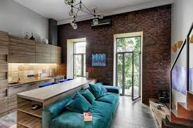 mezzanine furniture. View In Gallery Small Apartment Living Room With Large Windows, Beautiful Cobalt Blue Couch And Custom Wooden Cabinetry Mezzanine Furniture