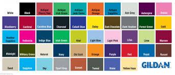Gildan Color Chart 2019