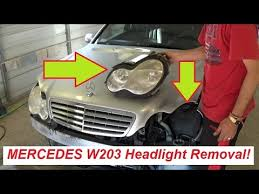 mercedes w203 headlight removal and replacement c160 c180 c200  at 04 Mercedes Benz Kompressor Sport Foglight Wire Harness
