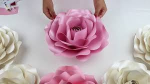 Large Paper Flower Pattern Diy Rose Tutorial Large Size Paper Rose Youtube