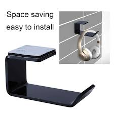 <b>Wall</b> Mounted <b>Headset Holder Earphone</b> Hook Sticky Display Stand ...