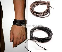 2016 fashion jewelry multilayer wrap charm genuine leather bracelet with braided rope uni for men
