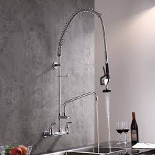 commercial high arc pull down pre rinse spring sprayer swiveling wall mounted kitchen sink faucet in polished chrome solid brass kitchen taps bath