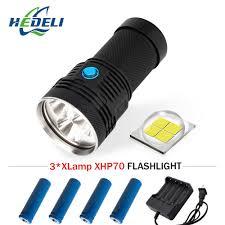 Spotlight Turbo Rechargeable Led Light Most Powerful Flashlight Cree Xhp70 Long Range Flashlight