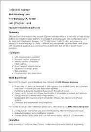 Resume Templates: Emc Storage Engineer