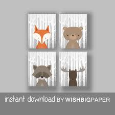 woodland animals wall art print set of four 4 digital in cur woodland animal wall art