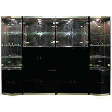 Glass Wall Unit Founders Furniture Burled Wood And Smoke Display