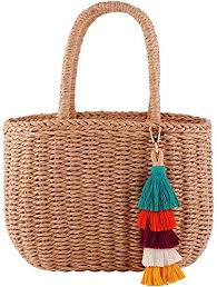 Summer Beach Straw Bag Top Handle Handmade ... - Amazon.com