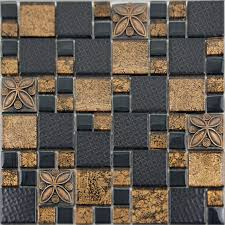 Small Picture Black Porcelain Mosaic Tile Designs Gold Glass Tiles Bathroom Wall