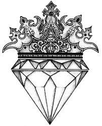 Crowned Diamond Tattoos Diamond Drawing Tattoo Drawings
