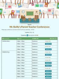 Parent Teacher Conference Sign Up Sheets