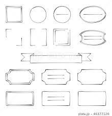 ペン画風 手描き フレームセット 黒 のイラスト素材 46377120 Pixta