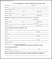 Employee Emergency Contact Form Template Example Parental Consent