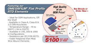 oem temperature sensors featuring our omegafilm® flat profile rtd elements