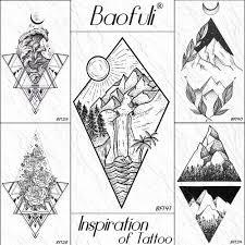 Baofuli Diamond Sun Mountain Ocean временные татуировки кокосовая пальма боди арт татуировка