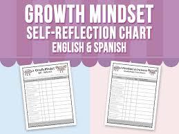 Growth Mindset Chart Growth Mindset Self Reflection Chart English Spanish By