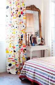 eclectic bedroom furniture. brushstroke decor trend arty linen fabric by pierre frey in an eclectic bedroom on thou furniture