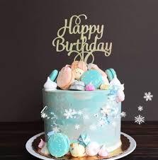 Happy Birthday Gold Glitters Script Font Cake Topper V2 Misty