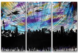 cleveland 2 metal wall art on cleveland metal wall art with cleveland 2 abstract city urban metal wall art painting from all