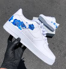 Cool Air Force One Designs Delicate Blue Rose Design Nike Air Force 1