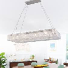 modern crystal chandelier island pendant ceiling light rectangular
