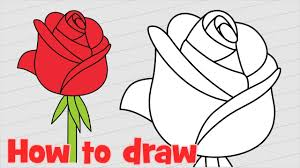 How To Draw A Rose Step By Step Easy For Kids And Beginners Youtube