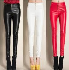 zipper skinny pu leather pants plus cashmere women trousers plus size stretch black leather pencil pants sknp57402