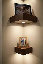 Cute Corner Shelves With Lighting Elements