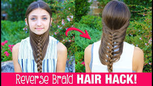 Pretty Girl Hair Style hair hack diy reverse braid in under 2 minutes life hacks 5374 by wearticles.com