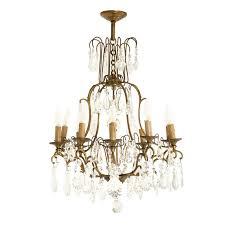 circa 1930 french bronze hand cut crystal 10 light chandelier