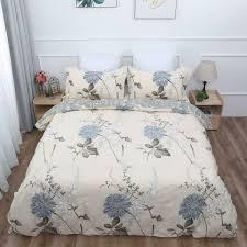 beige bedding set fl blue gray
