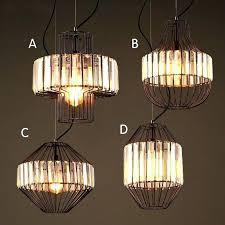 wire cage light industrial black metal crystal prism 1 hanging pendant fixture bird lamp shade vintage
