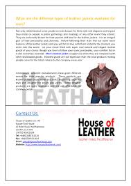 what are the diffe types of leather jackets available for men