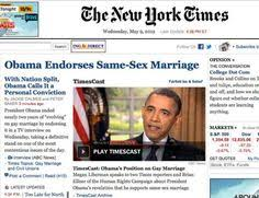 the legal toward same sex marriage article obama reveling that he thinks that gay marriage should be legal in all states