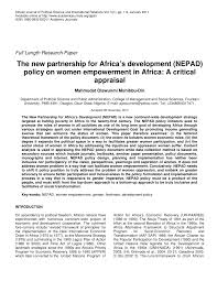 the new partnership for africa s development policy and women  the new partnership for africa s development policy and women empowerment in africa a critical appraisal pdf available