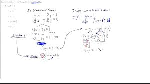 slope intercept form calculator 2 points equation examples rewrite standard linear into chemical with answers standar