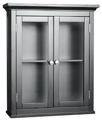 impressive espresso finish avenue wall cabinet w glass throughout storage cabinets with doors attractive bathroom