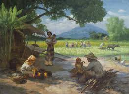 fernando amorsolo afternoon meal of the rice workers border