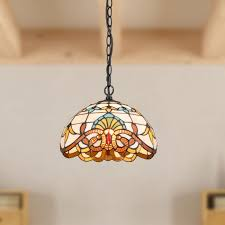 tiffany style dome stained glass pendant light bright colored glass shade