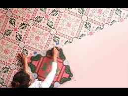 how to paint vinyl flooring with tile floor stencils