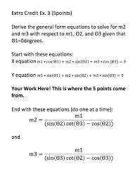 m3 form solved derive the general form equations to solve for m2