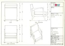 orthographic views of a piece of furniture showing the plan view front elevation and side elevation orthographic projection es