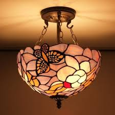 Pink And Purple Stained Glass Butterfly Design 12 Inch Chandelier In Tiffany  Style