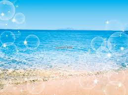無料イラスト 海波背景水彩手書きイラストシンプル夏かわいい